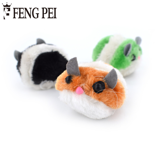 plush vibration cute fat rat mouse toys for cat pulling chain shock