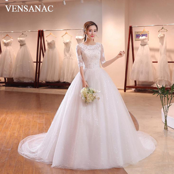 VENSANAC Sequined O Neck 2018 Lace Half Sleeve Ball Gown Wedding Dresses Crystal Appliques Court Train Bridal Gowns