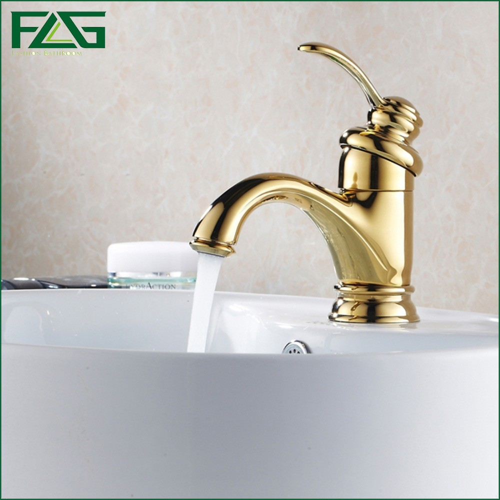 ФОТО FLG New Arrival Bath Mat Single Lever Robinet Torneiras De Banheiro Cold & Hot Monster Golden Color Mixer Robinet Faucet M112
