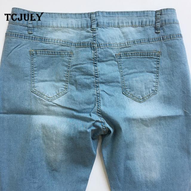 Vintage Cotton Ripped Elegant Women Denim Jeans Plus Size 2XL-7XL Stretch Skinny Push Up Casual Pencil Pants