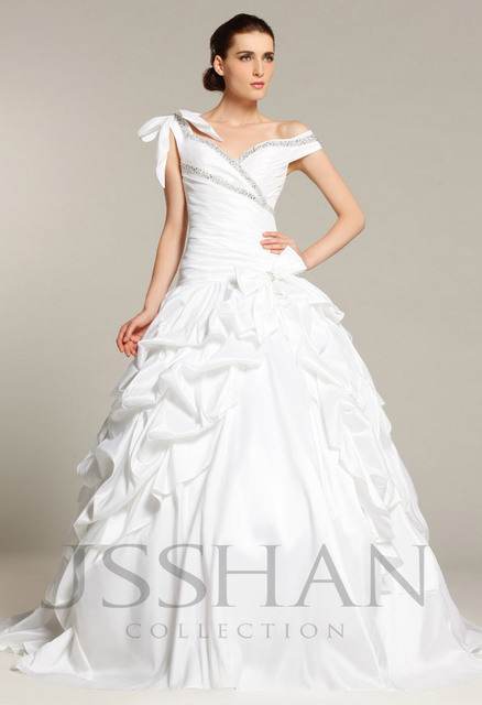 12W024 Off Shoulder Beading Ruched Taffeta Bridal Cathedral Train Wedding Dress with underskirt Wedding Dresses Free Shipping