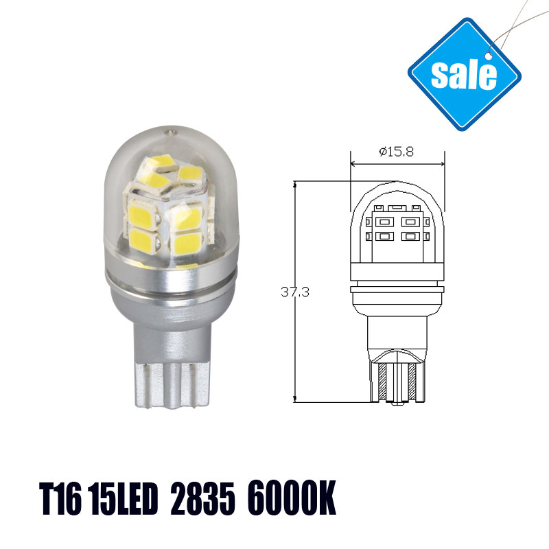 T16 15SMD 2835 Auto LED Cars Bulbs Brake Lights LED Lamp High Power 7.5W 300LM 6000K White Light Wholesale