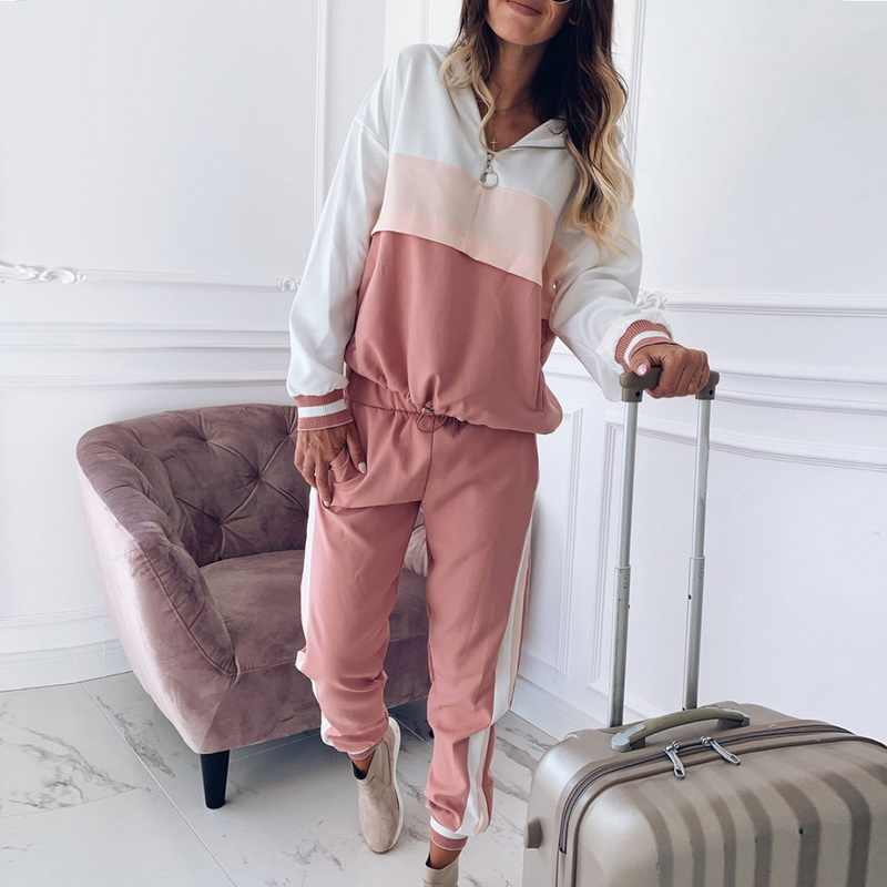 e412716992d1c 2019 Sweet Casual Loose Outfits Sets Two Piece Modish Striped Patchwork  Tracksuit Women Zipper Hoodies Sweatshirt+Pencil Pants