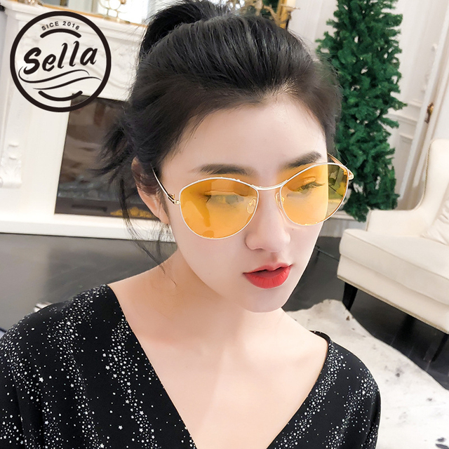 63e288ffc7e9 Sella Korean Style Fashion Women Colorful Tint Lens Retro Round Sunglasses  Sexy Ladies Summer Yellow Lens