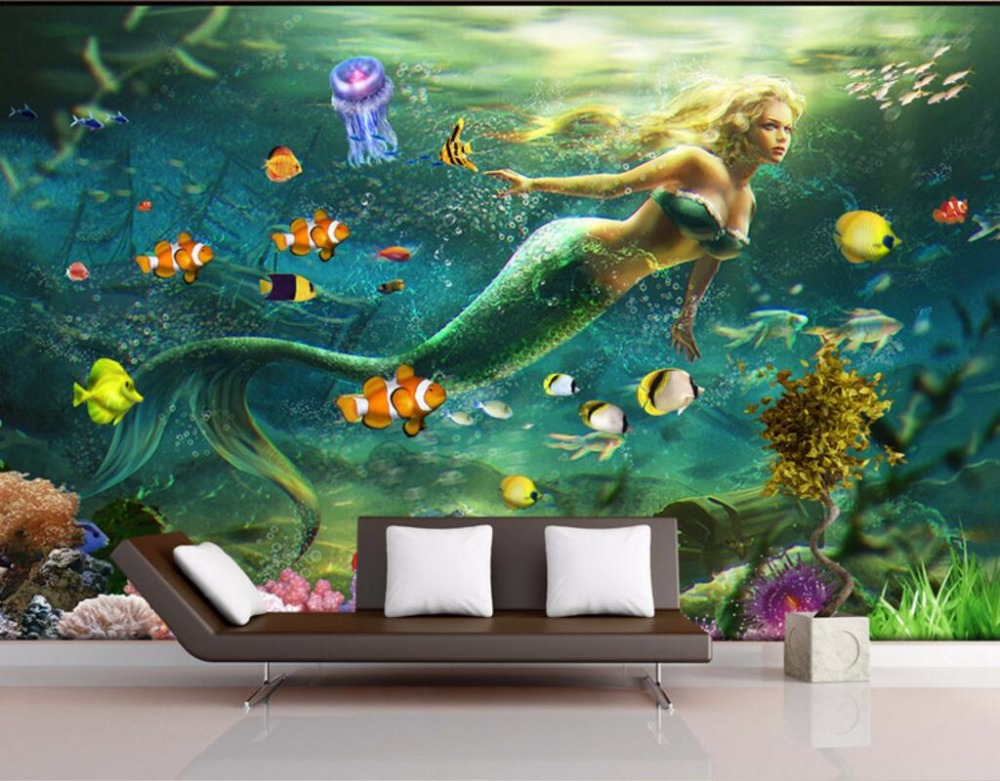 Custom mural photo 3d wall paper picture dream undersea for Custom mural painting