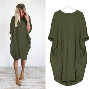 MIARHB 2018 Womens Ladies Casual Long Dress Plus Size d05ec039e53d