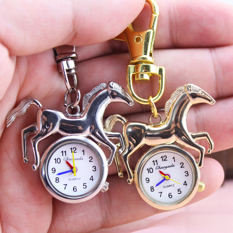 2018 Cyd New Children Boys Horse Shape Pocket Watch Personality Cool Fashion Pendant Fob Watch Key Chains Gold Silver Watches