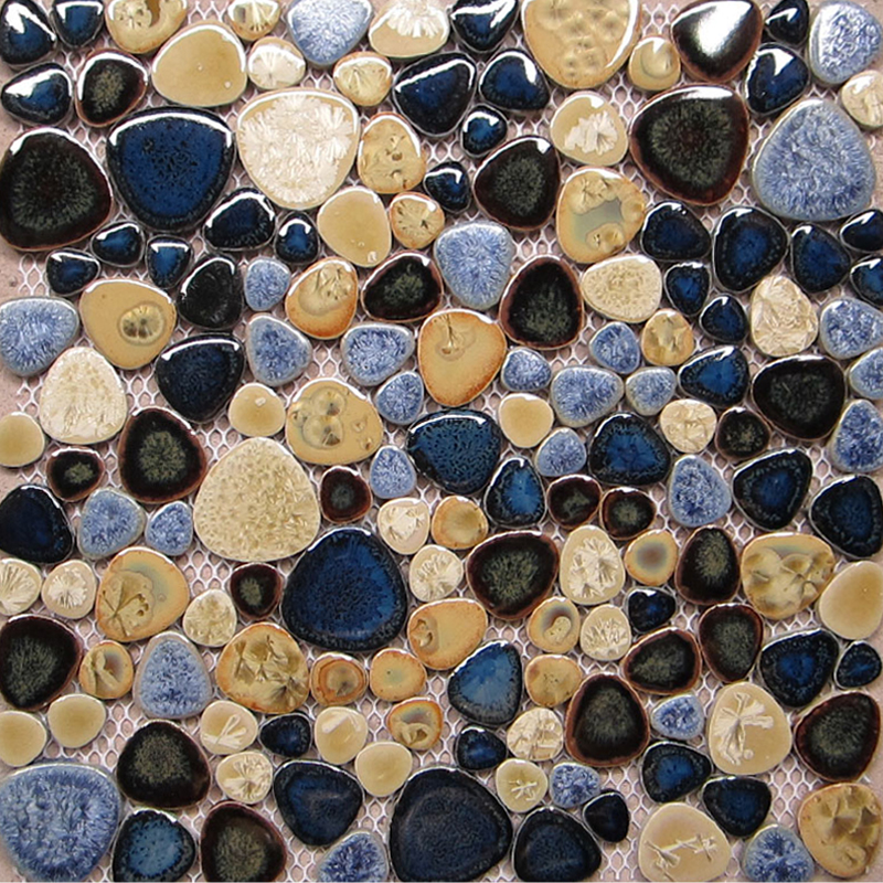 TST Porcelain Pebbles Art Fambe Mosaic Blue Glazed Ceramic Tiles