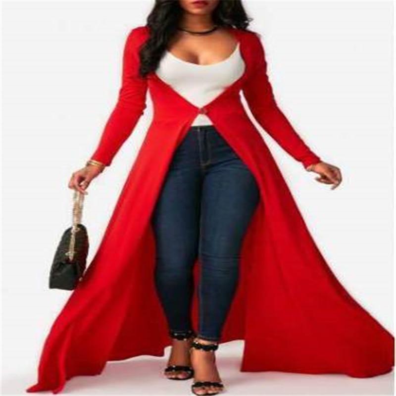 2017 Autumn Fashion Women Red Open Stitch Cloak   Trench   Coats Outwears Poncho Coat Plus Size 2XL