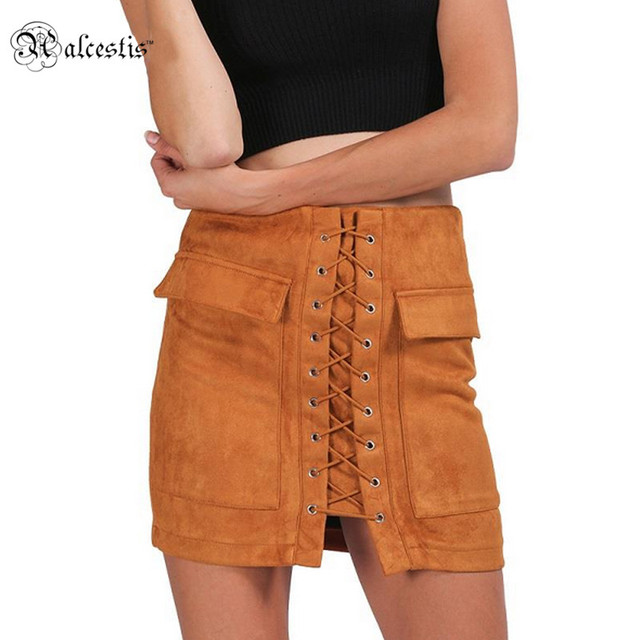 17dd6c8187 Autumn lace up suede leather women skirt 90's Vintage pocket preppy short  skirt Winter high waist