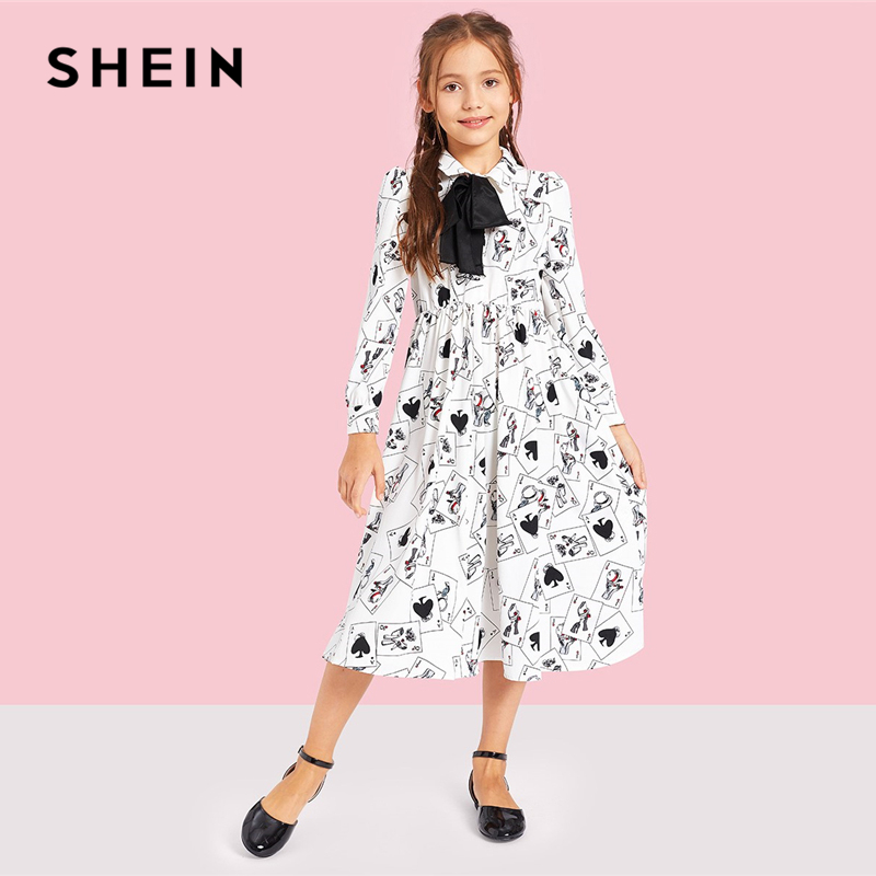 SHEIN Kiddie White Bow Tied Neck Poker Print Casual Girls Dress 2019 Summer Long Sleeve Button High Waist A Line Midi Dresses self belted button up plaid print dress
