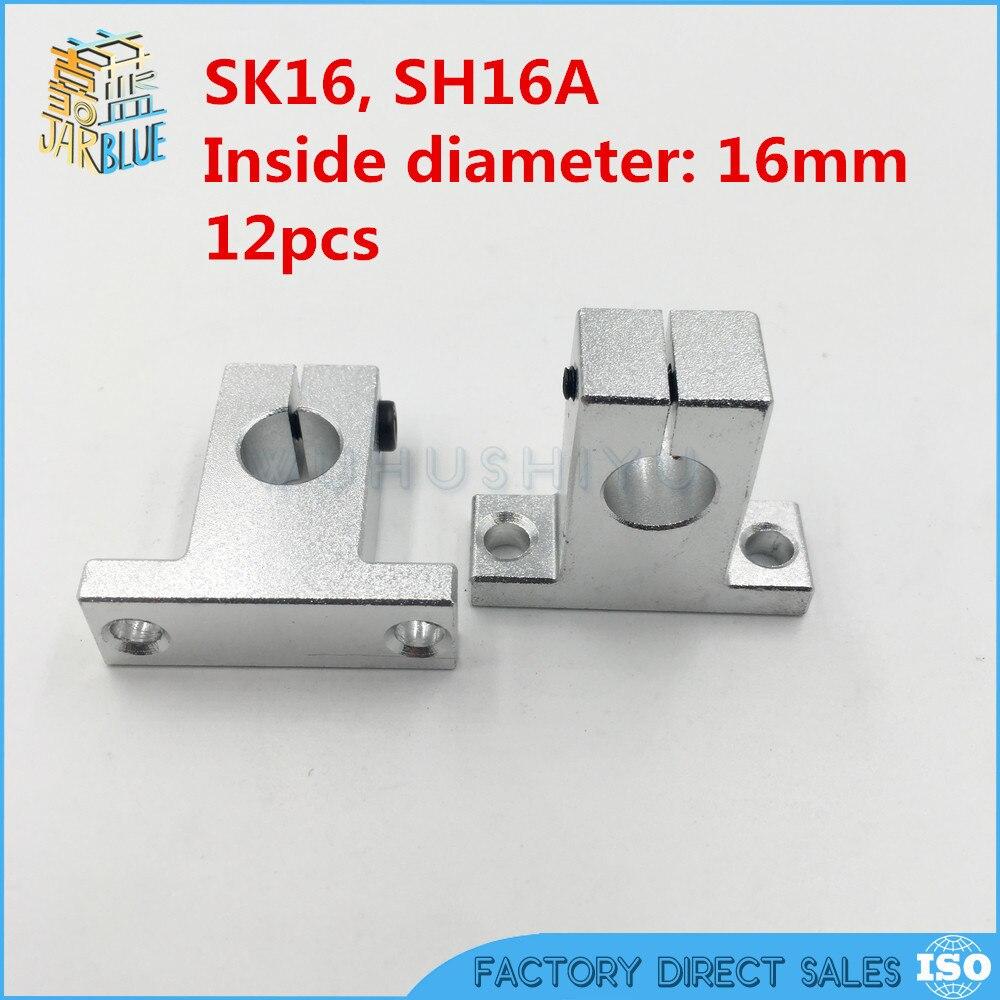 12pcs/lot  SK16  16mm Shaft Support  Linear Shaft Support Linear Rod CNC Router SH16A sk16 sh16a 16mm linear rail shaft support xyz table cnc 2pcs lot