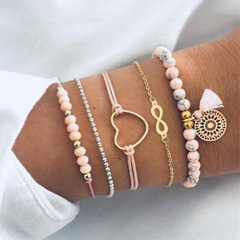 DIEZI Bohemia Map Ocean Heart Charm Bracelets Sets For Women Vintage Ethnic Beads Bracelet Jewelry Gifts 2019 New