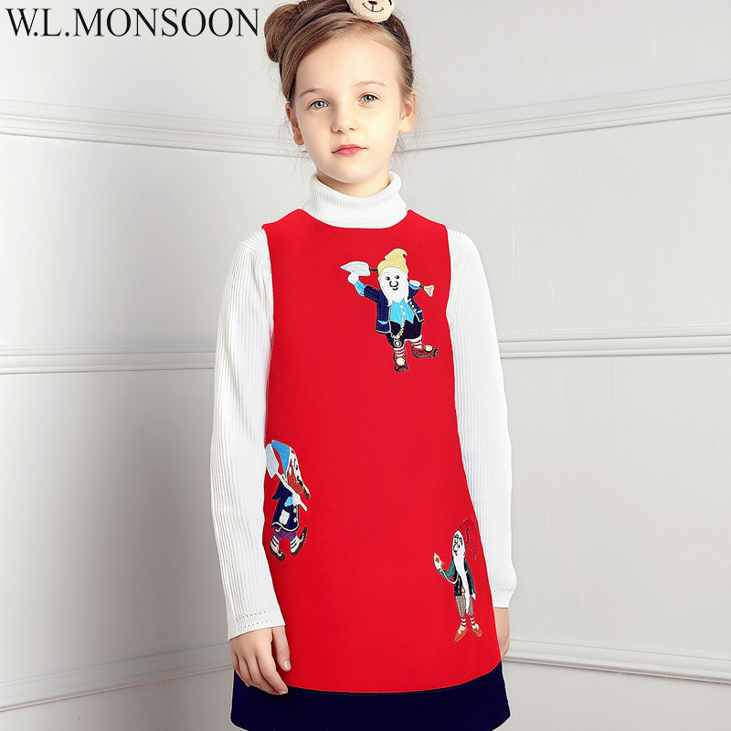 W.L.MONSOON Girls Christmas Dress Kids Clothes with Seven Dwarves Embroidery Winter Children Princess Dresses for Girls Clothing dragons and dwarves
