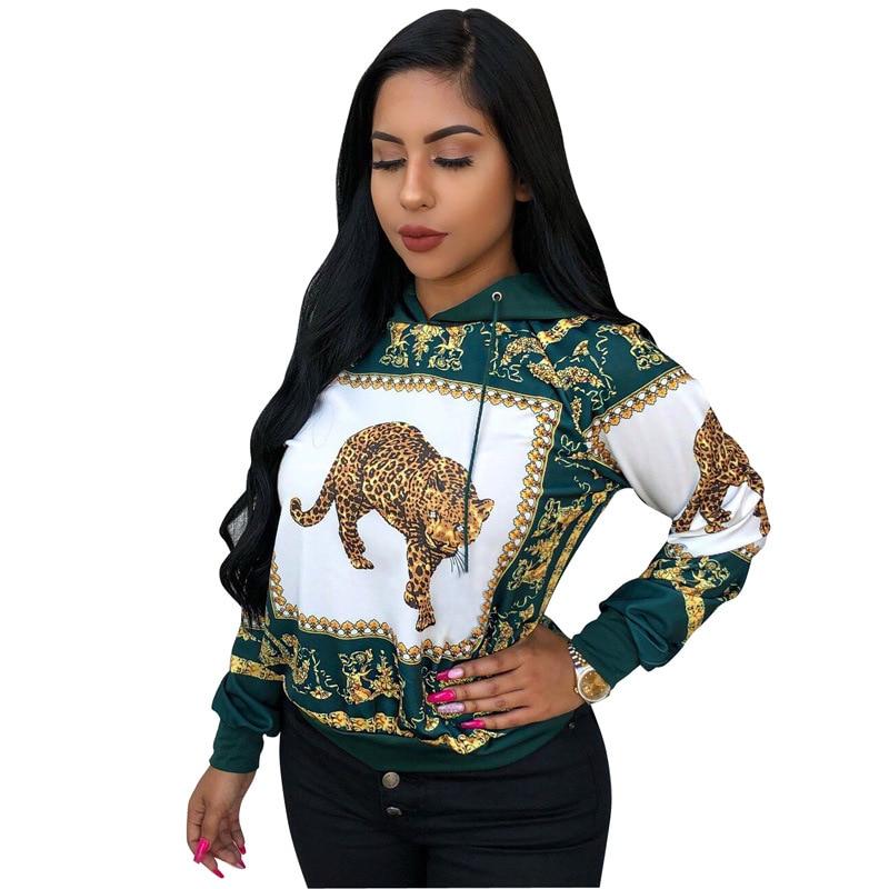 2018 Herbst Casual Leopard Drucken Hoodies Frauen O-ansatz Mit Kapuze Sweatshirts Harajuku Pullover Tops