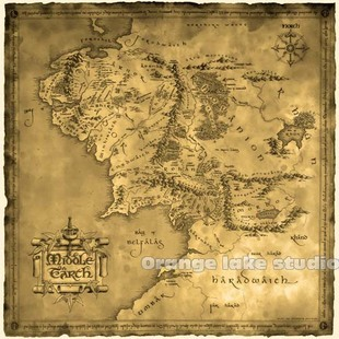 Square Earth Map.The Lord Of The Rings Middle Earth Map Canvas Painting Square Poster