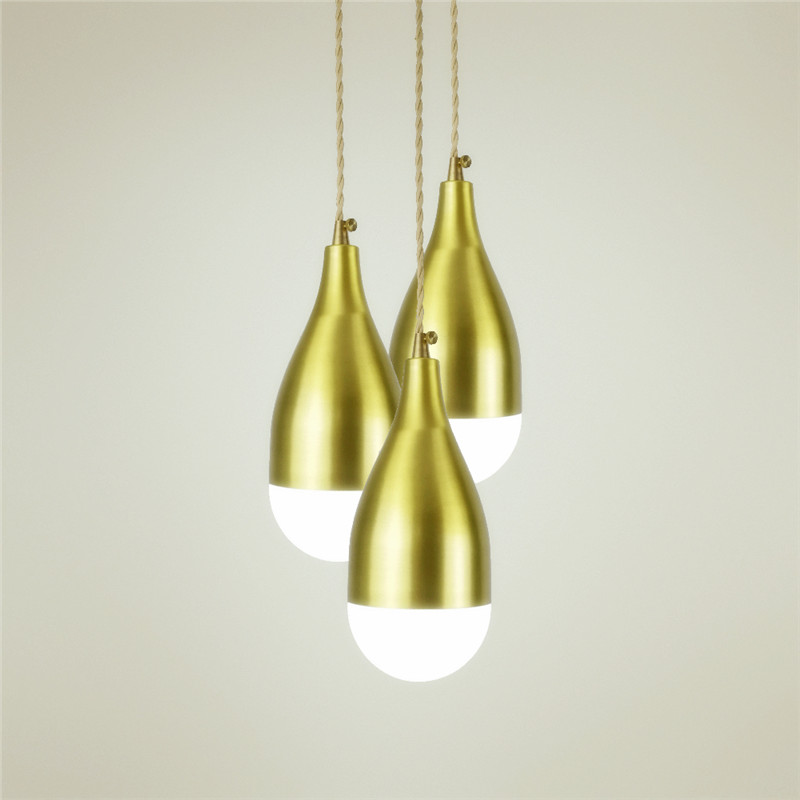 E27 brass material wood pendant light edison bulb G95 LED vintage copper fabric wire indoor lighting fixture brass pendant lamp e27 brass socket with copper lampshade fabric wire pendant lamp fixture quality brass lighting with led bulb for home decoration