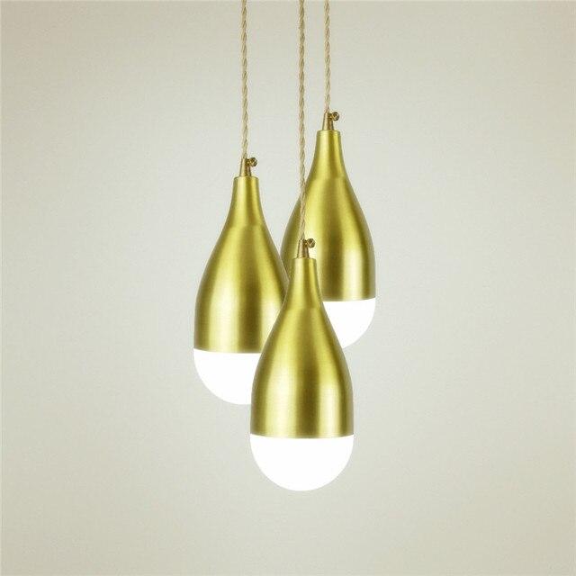E27 brass material wood pendant light edison bulb G95 LED vintage ...