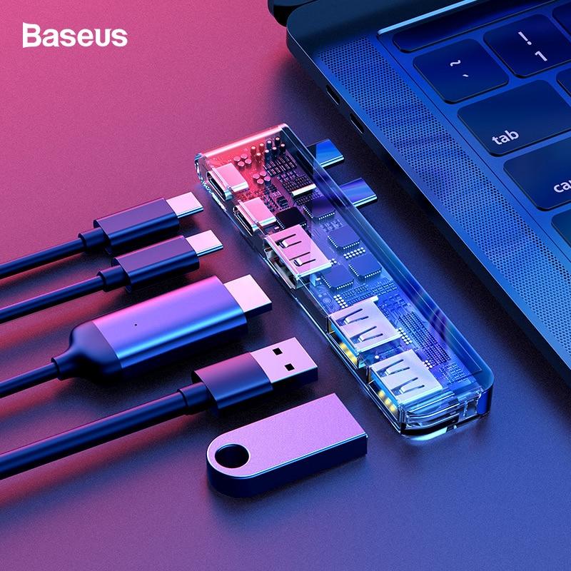 Baseus USB концентратор двойной USB C концентратор к USB 3,0 HDMI тип-c Женский адаптер Thunderbolt 3 Тип C USB 3,0 концентратор для 2017 2016 Macbook Pro