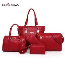 Новый 6 шт./компл. модные роскошные дизайнерские Крокодил Кожа PU Tote сумка посыльного клатчи композитный сумки бренда Сумки