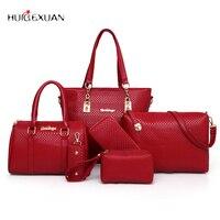 New 6Pcs/Set Fashion Luxury Designer Crocodile PU Leather Tote Shoulder Satchel Messenger Clutches Composite Bags Brand Handbags