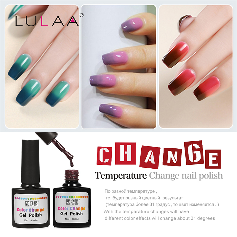 Newest 18 Colors Fashion Women Free Shipping Nail Polish Temperature Change Nail Color UV Gel for Nail Soak Off Gel Polish