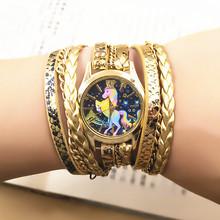 Women Bracelet Watch Unicorn Fashion Casual Quartz Watch Ladies Vintage Creative Winding Wristwatches Relogio Feminino Clock