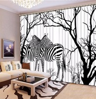 Window Blackout Curtains zebra Children Room Curtains Drapes Modern Printed Black and white Bedroom Curtains