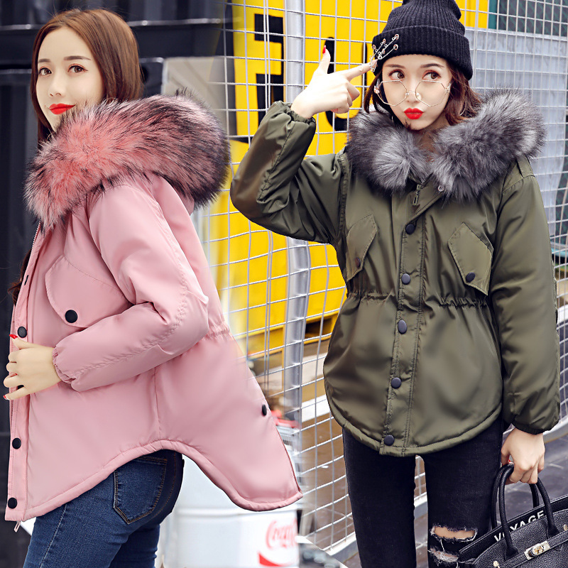 2017 winter new womens cotton clothing down cotton slim hooded cotton hooded fur collar Memory 75D Coat Jacket Winter Coat Wome