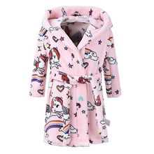 Cute Kids Robe Flannel Long Sleeve Baby Boys Baby Clothes Girls Robes Bathing Robes Sleepwear Cartoon Animal Hooded Bath Robes