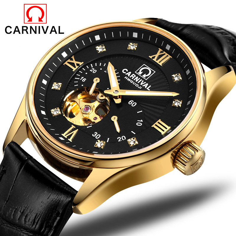 Carnival Watch Men Hollow Automatic Mechanical Luminous Gold Stainless Steel Waterproof Black Dial Leather Watches