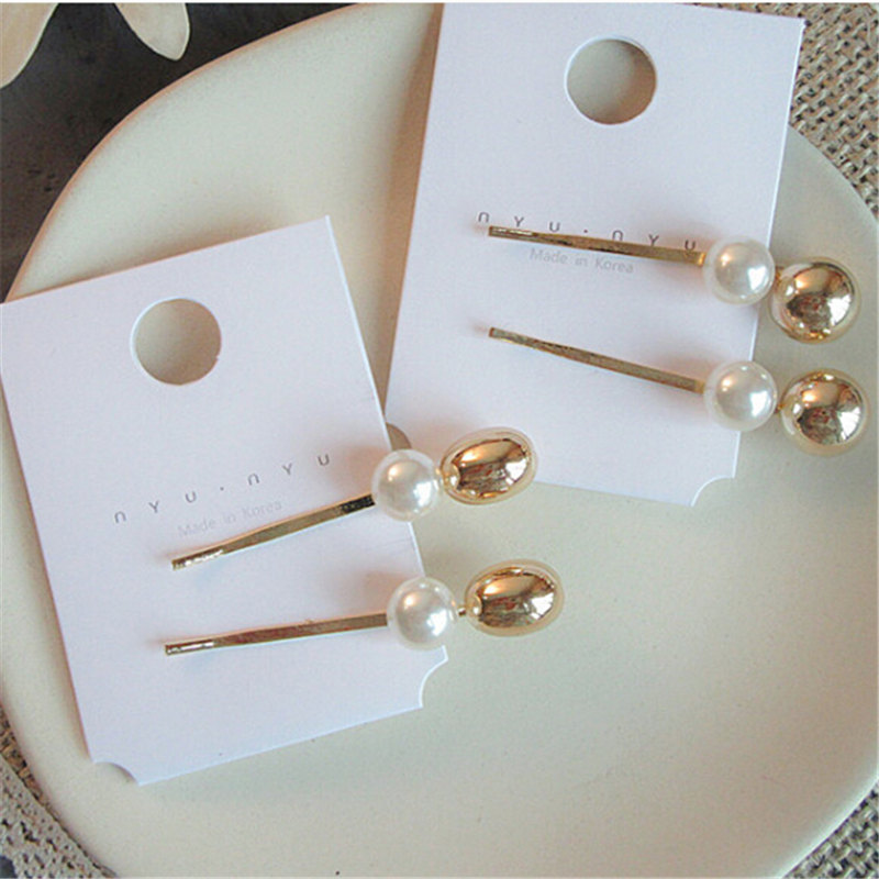 1PC Vintage Metal Imitiation Pearl Hairpins Women Korea Metal Ball Hair Clips Simple Hair Accessories Barrettes girl hair clips