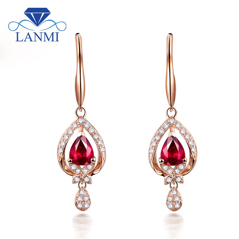 Pear Shaped Natural Ruby Earrings Gold 18K Rose For Women Party SE0368 [pcmos] body kun dx