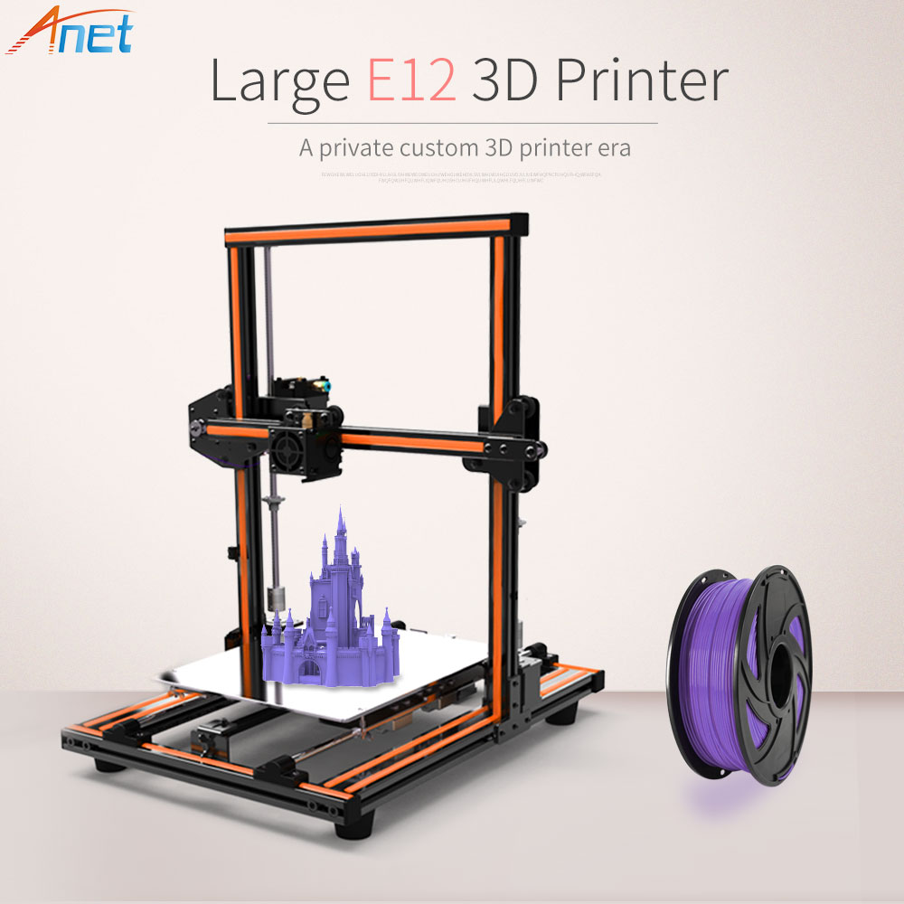 2018New!Anet E10 E12 3D Printer DIY Kit Large Printing Size Aluminum Frame Multi-language High Precision Reprap i3 with Filament 2017 newest anet e10 e12 3d printer large printing size high precision reprap prusa i3 diy 3d printer kit with filament free