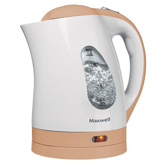 Чайник электрический MAXWELL MW-1014 BN (Мощность 2200 Вт, объем 1.7 л, нейлоновый фильтр, отсек для хранения шнура, вращение 360°)