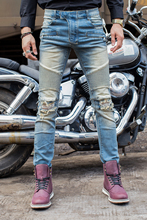 Free Shipping Biker Jeans Men Slim Elastic Skinny Straight Mens Jeans With Holes Ripped Patch Design
