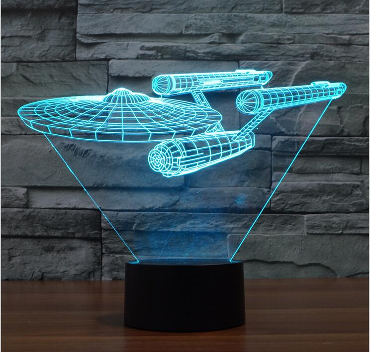 Xmas 3D Bulbing Night Light Star Trek Death Star Millennium Falcon LED Lighting Gadget Table Nightlight Lamp Child Toy Gift ynynoo star wars bb8 droid 3d bulbing light toys 2016 new 7 color changing visual illusion led lamp yoda millennium falcon toy