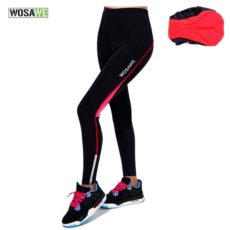 цена на WOSAWE Cycling Pants for Women Full Length Bike Riding Tights Sportswear With 3D Paded Bicycle Trousers 2017 New Spring Autumn