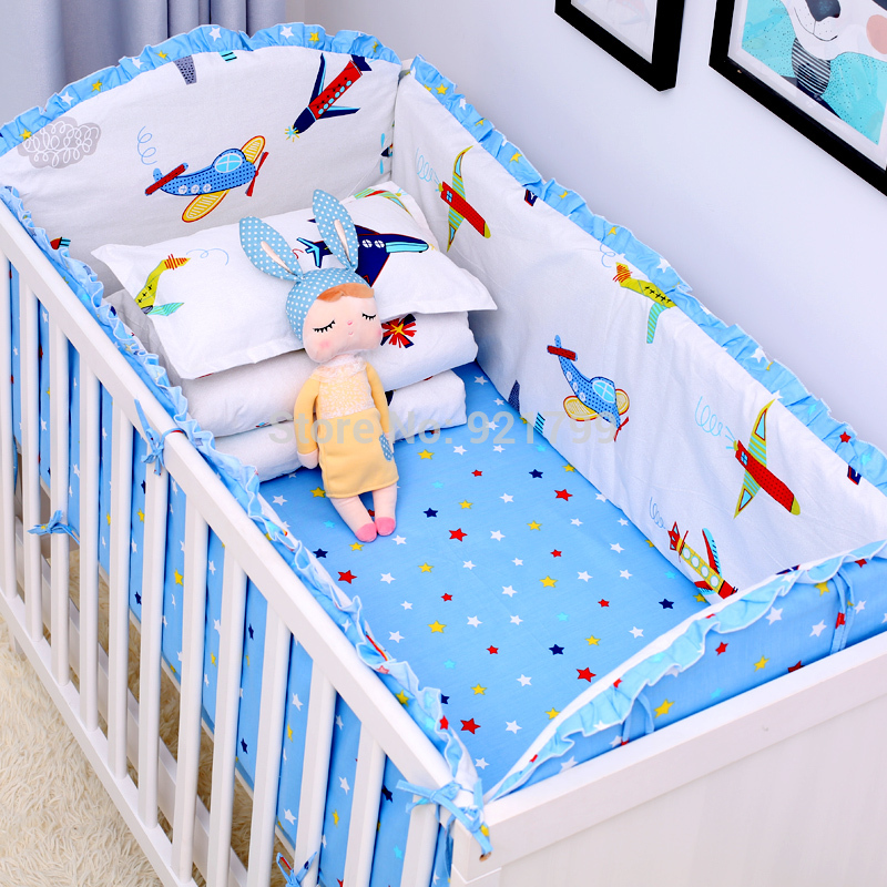 6Pcs/Lot Cartoon Plane Baby Bed Bumpers for Boys Crib Cot Bumper Baby Bed Protector Crib Bumper Newborns Toddler Bed Bedding Set