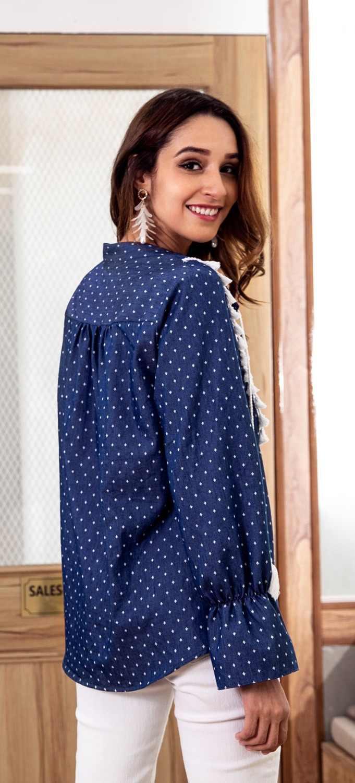 Bluzka poliester bawełna Blusa kobiety topy Vadim rzucili Plus rozmiar darmowa wysyłka 2019 styl jesień z długim rękawem Top kobiety koszulka z dekoltem V