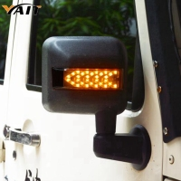 Yait LED Light Smoke Lens Sidelight Rearview Side Mirror Housing W/ Yellow Turn Signal Lights For Jeep Wrangler JK JKU 2007 17