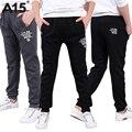 A15 niños ropa chicos pantalones casuales negro 2017 nueva primavera niños deportes pantalones de los muchachos adolescentes pantalones boy larga edad 8 9 10 12 14 año