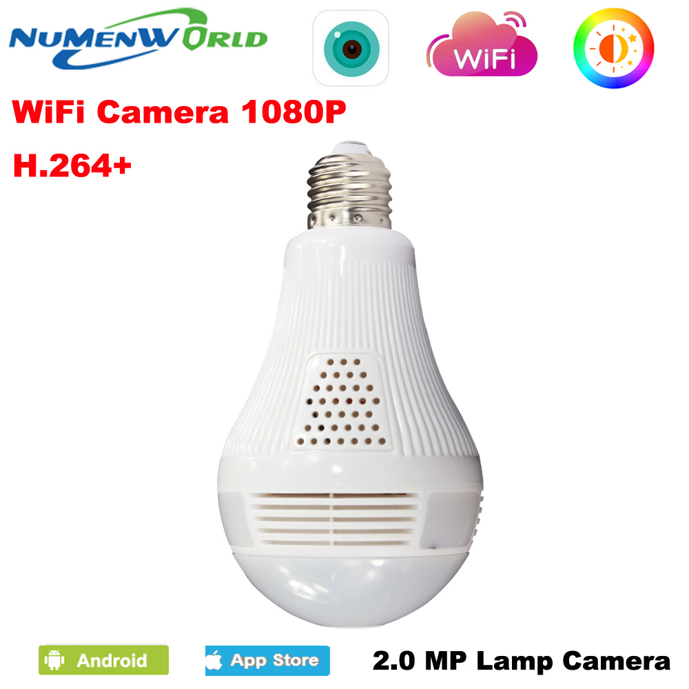 360 Panoramin Smart IP Camera 1080P CCTV Home Safty Wifi VR Camera LED Bulb Security Camcorder Support PC Tablet Mobile Phone