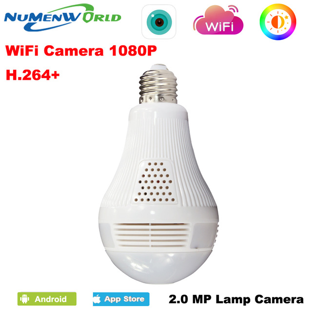 360 Panoramin Smart IP camera 1080P CCTV Home Safty Wifi VR Camera LED Bulb  Security Camcorder Support PC Tablet mobile Phone-in Surveillance Cameras