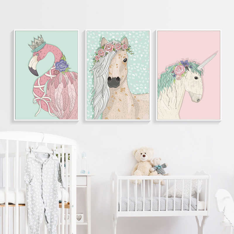 Cute Cartoon Unicorn Horse Flamingo A4 A3 Canvas Painting Posters And Prints Art Wall Pictures Girl Room Bedroom Home Decoration