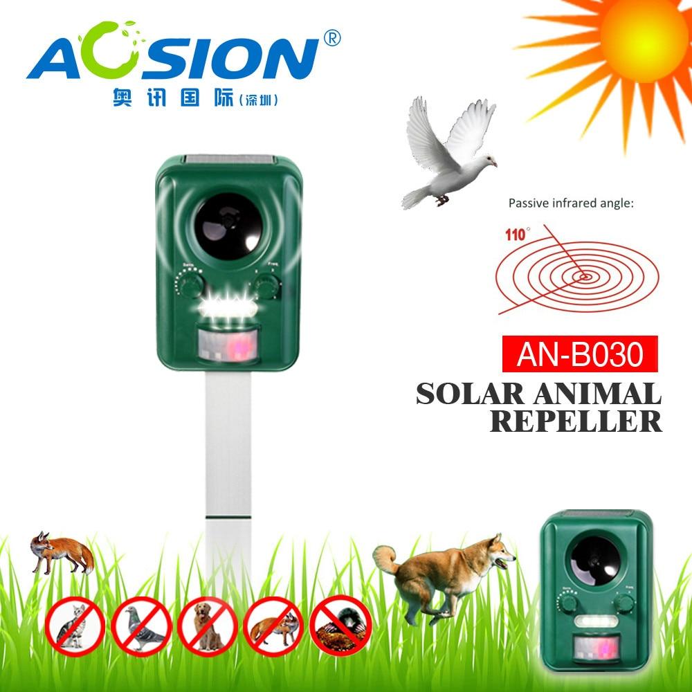 2X Aosion Outdoor Garden Use Waterproof Solar Ultrasonic Animal Dog Cat Bird Repeller Repellent Chaser AN-B030