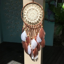 Feather Crafts Dream Catcher Wind Chimes Handmade Dreamcatcher Net Feather Beads for Wall Hanging Home Decor Z недорого
