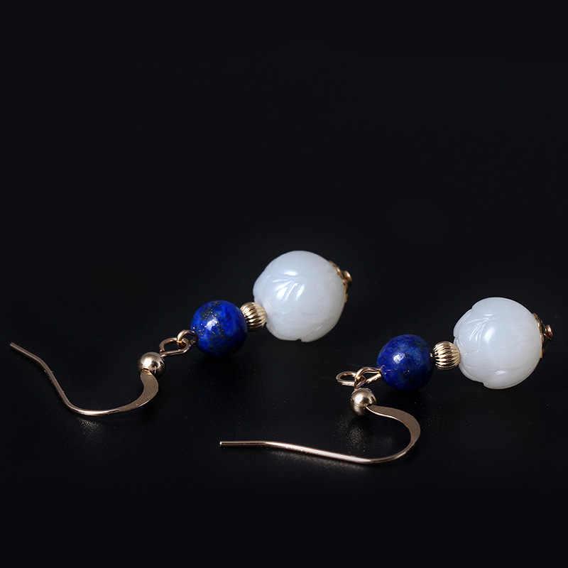 On Tian biały jade 9.5mm amazonit/lapis 14K złota spadek kolczyki eleganckie vintage design kobiety kolczyki charms 2018 biżuteria prezent