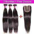 UNICE Brazilian Virgin Hair Straight 3PCS Send One Free Closure Aliexpress Brazilian Straight Bundles Cheap Human Hair Weaves