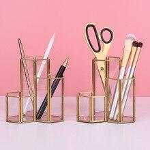 Glass Copper Hexagon Composite Pen Holder Makeup Brush Box Multifunction Desktop Organizer Office Accessories